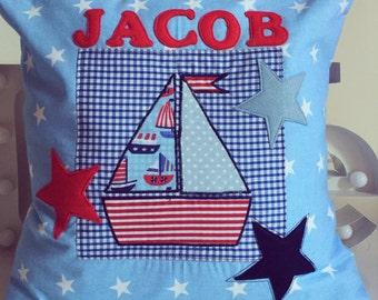 Personalised Boys Nautical Boat Cushion