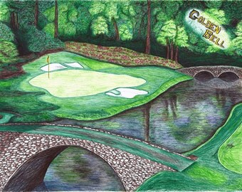 Golden Bell golf hole #12 at Augusta National (THE MASTERS)