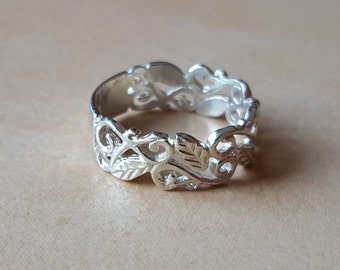Solid Silver leaf ring, leaves and vines, leaf, silver, 925