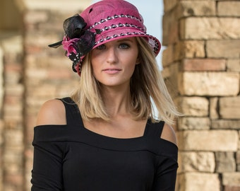 Pink Cloche Hat With Black Feathered Accents