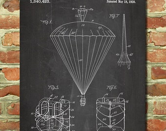 Skydiving Art Poster, Mens Skydiving Gift for Skydiver Gift, Parachute Art, Military Gift for Army Decor, Extreme Sports Gift Patent P071