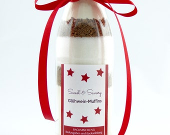 Mulled wine of muffins, cake mix in a glass, ideal as a gift for Christmas, Santa Claus, birthday for him and her