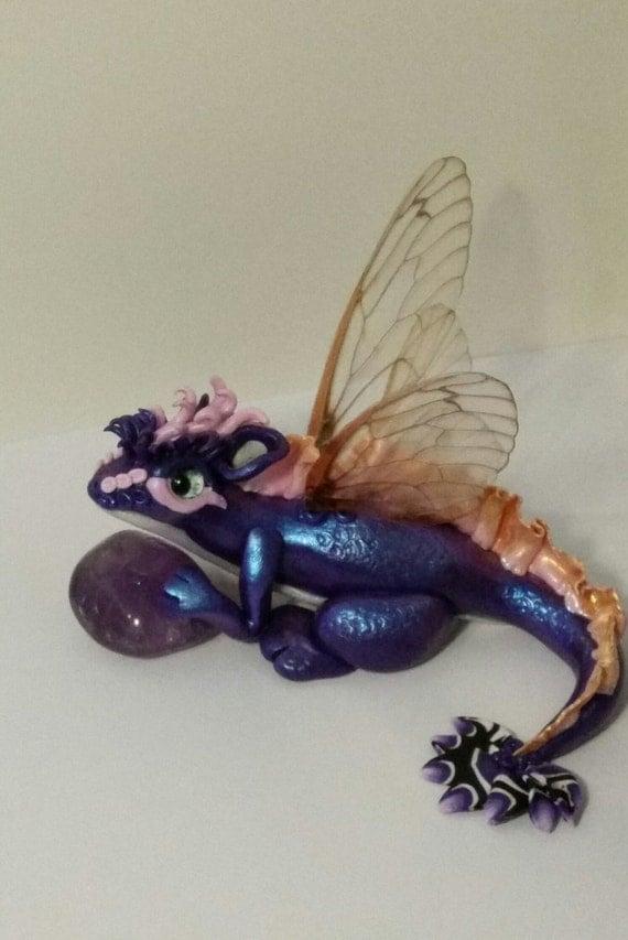 Polymer clay Dragon, fairy Dragon, mystic Dragon, magic sculpture Dragon, little hatchling