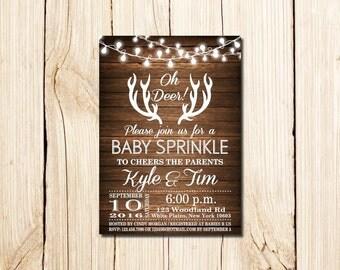 Baby Sprinkle Invitation, Oh Deer, Rustic Baby Sprinkle Invitation, Deer, Baby Boy Sprinkle Invitation