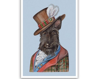 Scottish Terrier Art Print - the Writer - Scottish Dog Wall Art - Pet Portraits by Maria Pishvanova