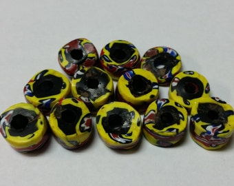 x12 Venetian Millefiori Trade Beads Star Swirl Africa Matched Loose Rare 19th Century 1800's