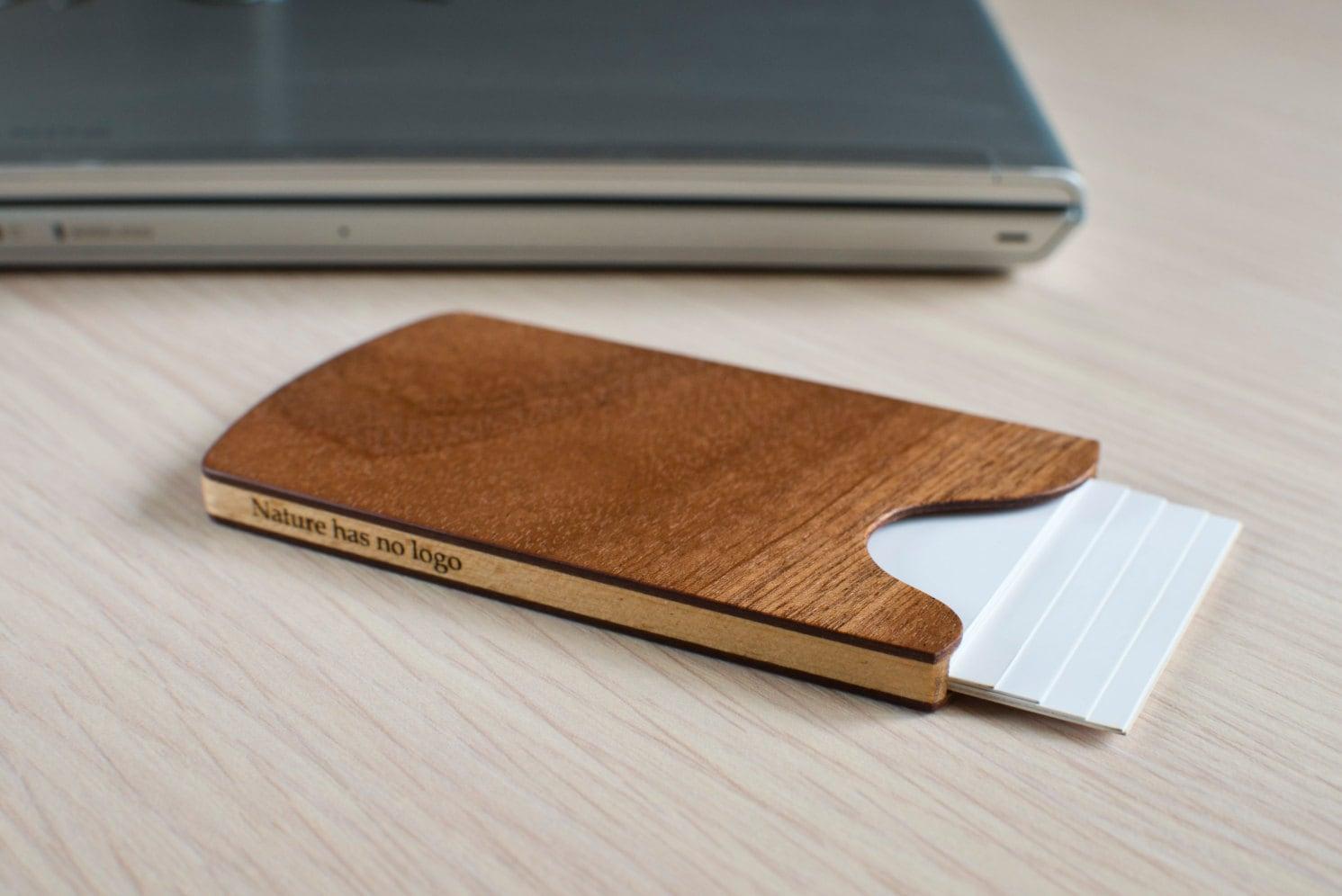 Handmade wooden business card holder sapele by nologodesigns for Wooden business card holders