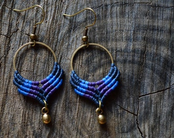 Macrame earrings with brass components