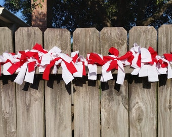 Red and White Fabric Garland