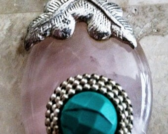 Beautiful One Of A Kind Rose Quartz/Turquoise and Silver Pendant