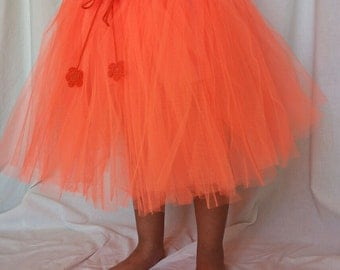 Orange cotton and tulle Tutu skirt girls clothing/custom handmade girl crocheting, ballerina style
