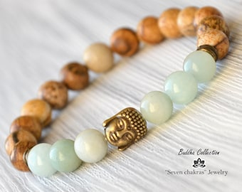 8mm Beaded bracelet Gemstone Jewelry Mala Beads Buddha Bracelet Energy Bracelet Yoga Jewelry Gemstone Bracelet Yoga Bracelet