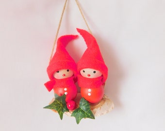 Handmade Finland Tonttu Christmas Decoration - Elf sitting on a Swing (double)
