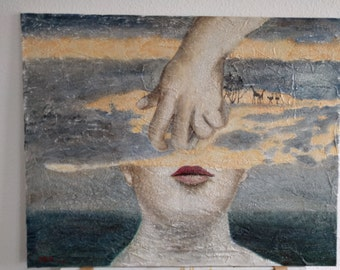 woman surreal oil painting hand-made hand dream