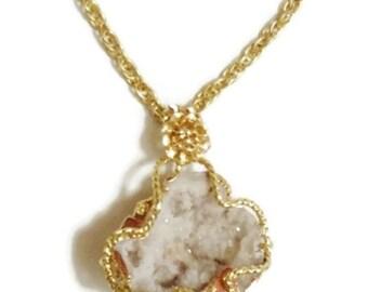 Huge Geode Crystal Pendant Necklace - Gold Tone - N101