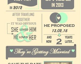 Printable Wedding Save the Date Invitation - Heres the story of...