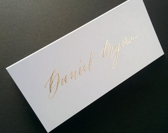 Hand written place cards - metallic ink on white card stock - modern script
