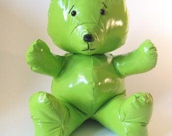 TEX Bear - Handmade Plush - Green fabric