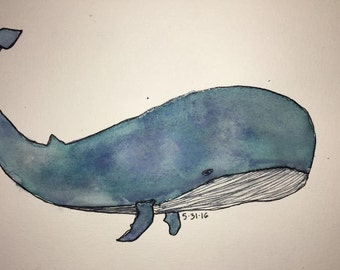 Whale Watercolor Drawing