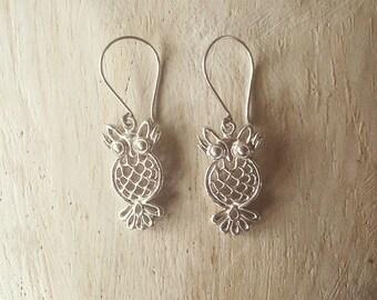 Silver Owl earrings, animal earrings, Owl Jewelry, cute owl earrings, Owl dangle earrings, dangle earrings, silver earrings, boho earrings