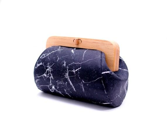 Black Marble Bag, Minimalist Clutch, Wooden Frame Purse, Evening Clutch, Black Canvas Handbag, Geometric Purse, Cosmetic Bag, Modern Bag