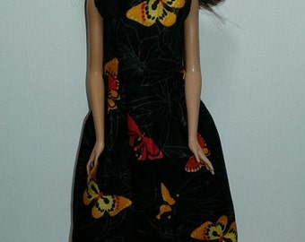 "Handmade 11.5"" Doll Clothes- Butterfly Print Dress fits Barbie Dolls"