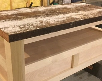 flat panel coffee table with salvaged pine top
