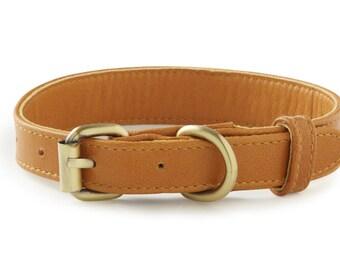 Topsail Tan Leather Dog Collar