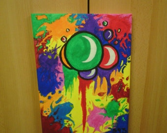 """Even painted """"blow acrylic picture,"""" on canvas 30 x 40 cm"""
