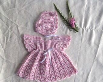 Handmade crochet baby girls outfit 0-3 months
