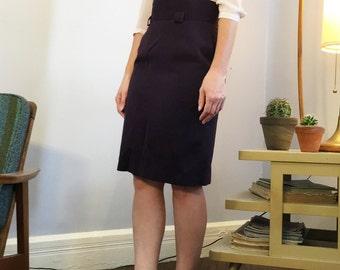 Vintage 1980s Purple Marled High Waist Knee Length Wiggle Pencil Skirt Fits 5/6 Small