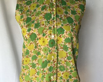 1950's floral print Peck and Peck top