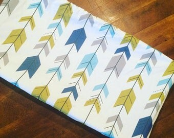 Changing pad cover or fitted crib sheet in Arrows gray, aqua, blue, green  Pack and Play sheet, mini crib sheet
