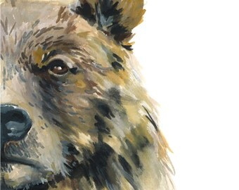 Bear watercolor print, Bear watercolor painting, Bear art print, Bear painting, Bear art