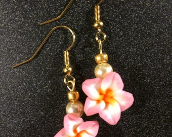 Tropical Pink Flower and Pearl Earrings