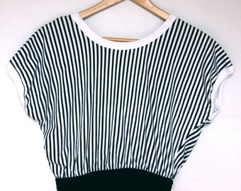 Vintage 1980's Striped Cropped Tee