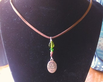 Tree pendant Necklace choker green crystal beads