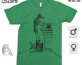Skeleton - Andreas Vesalius T-shirt, Tee, American Apparel, Skull, Medical, Engraving, Anathomy, 16th century, Cute Gift