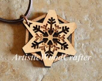Wooden Snowflake Necklace (Birch)
