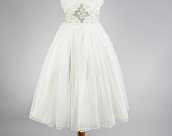 1950 Ruched Chiffon Vintage Wedding Dress
