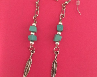silver feather dangle earring