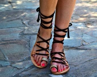 50% OFF Bronze Leather Sandals / Festival Fashion sandals / Tie Up Gladiator Sandals / Bohemian Flat Sandals / Lace up Handmade Sandals