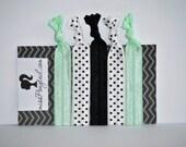 Hair Ties ~ White w/Black Dots, Mint Green, Black Handmade Trendy Ponytail Holders Knotted Elastic Yoga Bands Girls Hair Ties