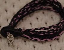 Braided bracelet, black and pink intertwined bracelet, band bracelet, leaf bead design, 6inch