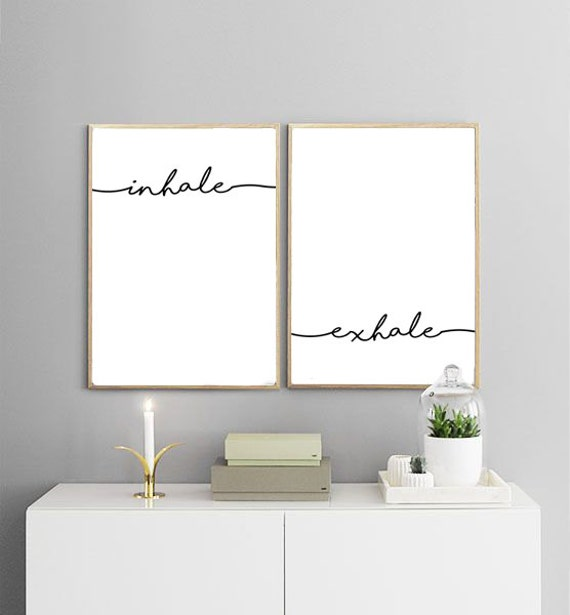Inhale exhale printables breathe print yoga print for Minimalist wall painting