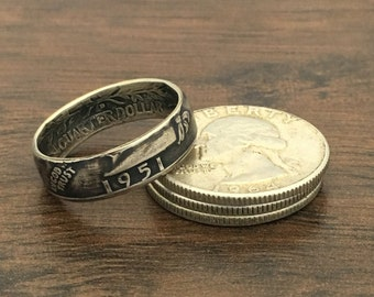 U.S. Washington Quarter Dollar Silver Coin Ring
