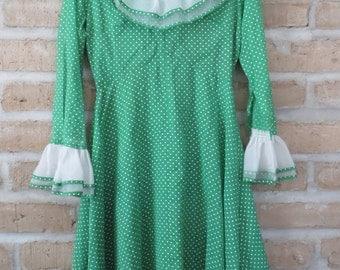 Vintage Green and White Polka Dot Ruffle Dress