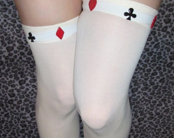 Alice in Wonderland Card Suit White Queen  ~ Sock Garters ~ with Adjustable Snaps for Thigh High and OTK !
