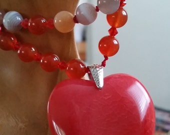 Handmade and knotted Heart filled with love Mala with 108 beads approximately 42 inches