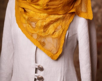 Yellow Silk Chiffon Scarf